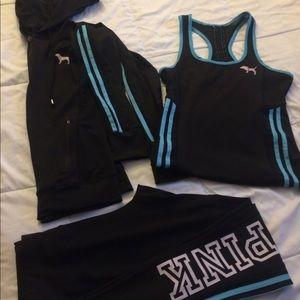 Pink sport 3 pieces Size S/M hoodie, leggings tang